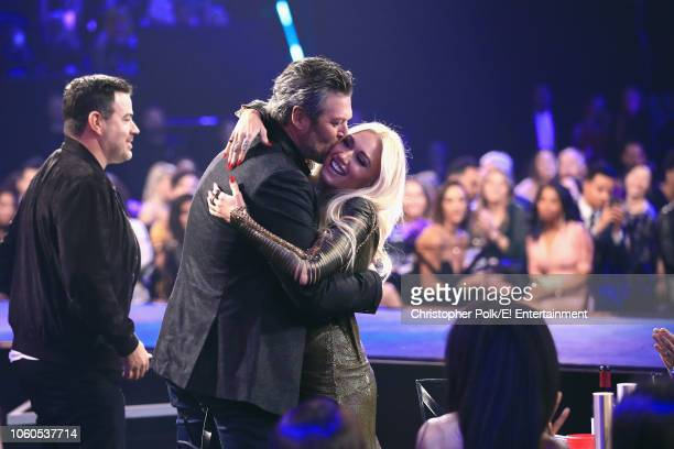 TV personality Carson Daly and recording artistsTV personalities Blake Shelton and Gwen Stefani react during the 2018 E People's Choice Awards held...
