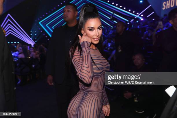 TV personality Kim Kardashian West poses during the 2018 E People's Choice Awards held at the Barker Hangar on November 11 2018 NUP_185072