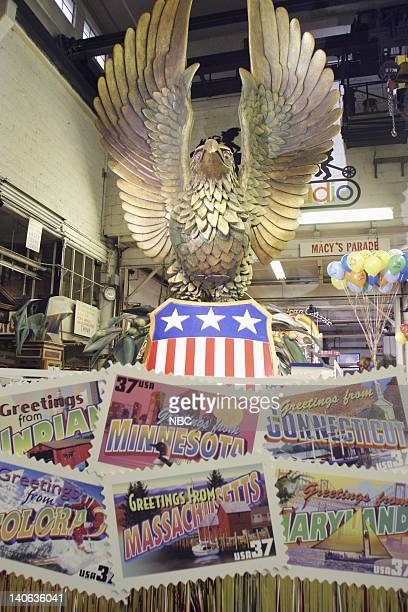 S 77TH THANKSGIVING DAY PARADE MACY'S STUDIO Pictured United States Postal Service Spirit of America float at Macy's Studio in Hoboken NJ prior to...