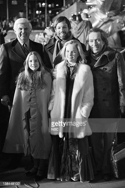 unknown actor Richard Chamberlain singer Andy Williams actress Melissa Sue Anderson and actress Melissa Gilbert at the Christmas tree lighting...