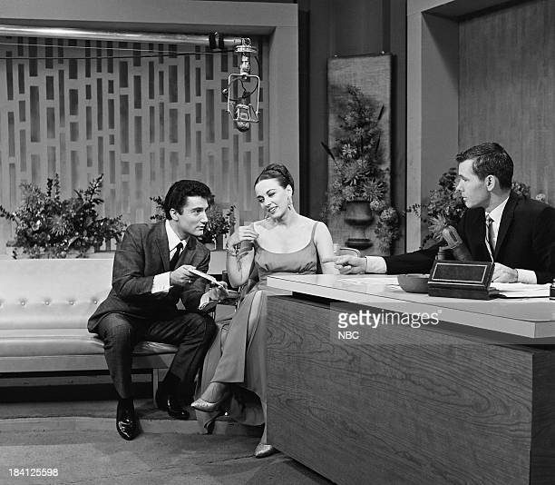 Unknown actress/singer Patricia Morison host Johnny Carson on December 6 1962