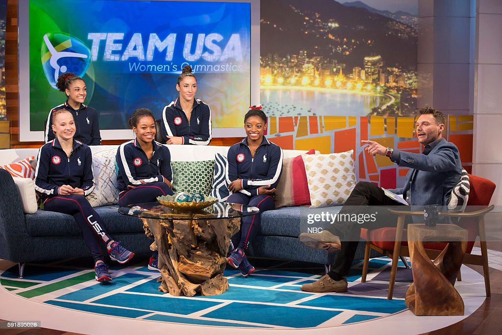 U.S. Gymnasts Madison Kocian, Laurie Hernandez, Gabby Douglas, Aly Raisman, and Simone Biles during an interview with Ryan Seacrest on August 4, 2016 --