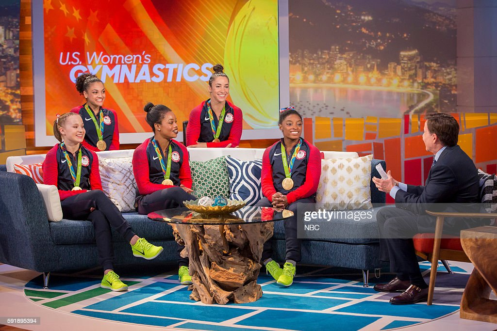 U.S. Gymnasts Madison Kocian, Laurie Hernandez, Gabby Douglas, Aly Raisman, and Simone Biles during an interview with Bob Costas on August 9, 2016 --