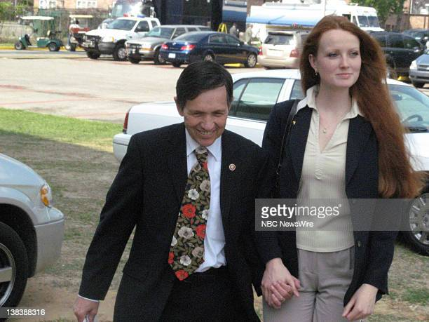 US Representative for Ohio Dennis Kuchinich and wife Elizabeth arrives for the first 2008 Democratic presidential candidate debate at the Martin...