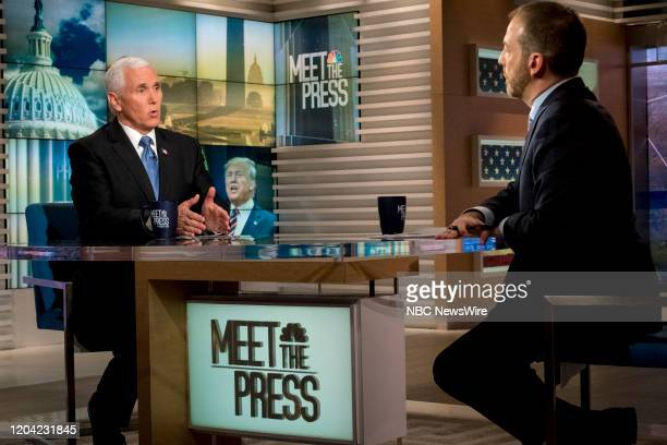 """Pictured: -- U.S. Vice President Mike Pence and moderator Chuck Todd appear in a pre-taped interview on Meet the Press"""" in Washington, D.C.,..."""
