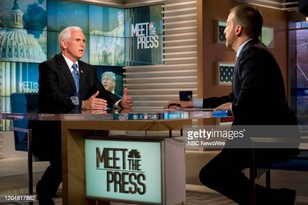 """Pictured: -- U.S. Vice President Mike Pence and moderator Chuck Todd appear in a pre-taped interview on ?Meet the Press"""" in Washington, D.C.,..."""