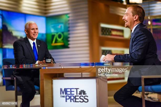 US Vice President Mike Pence and moderator Chuck Todd appear on 'Meet the Press' in Washington DC Sunday February 5 2017