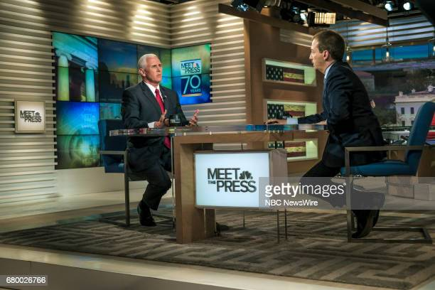 US Vice President Mike Pence and moderator Chuck Todd appear on 'Meet the Press' in Washington DC Sunday April 30 2017