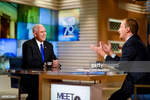 US Vice President Mike Pence and Moderator Chuck Todd appears on 'Meet the Press' in Washington DC Saturday February 5 2017