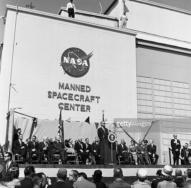 Vice President Lyndon B Johnson the first American astronaut to orbit Earth John Glenn wife Annie Glenn during Glenn's presentation ceremony of the...
