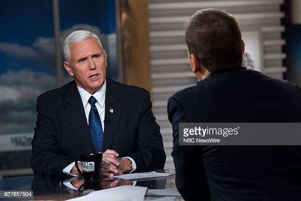 VicePresident Elect Gov Mike Pence and moderator Chuck Todd appear on 'Meet the Press' in Washington DC Sunday Dec 04 2016