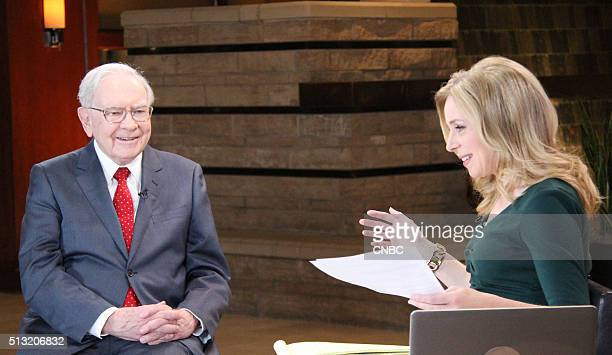 Warren Buffett chairman and CEO of Berkshire Hathaway sits down with CNBC's Becky Quick in an interview with Squawk Box on February 29 2016