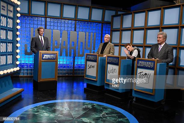 Will Ferrell as Alex Trebek Darrell Hammond as Sean Connery Kate McCinnon as Justin Beiber Alec Baldwin as Tony Bennett during the Celebrity Jeopardy...