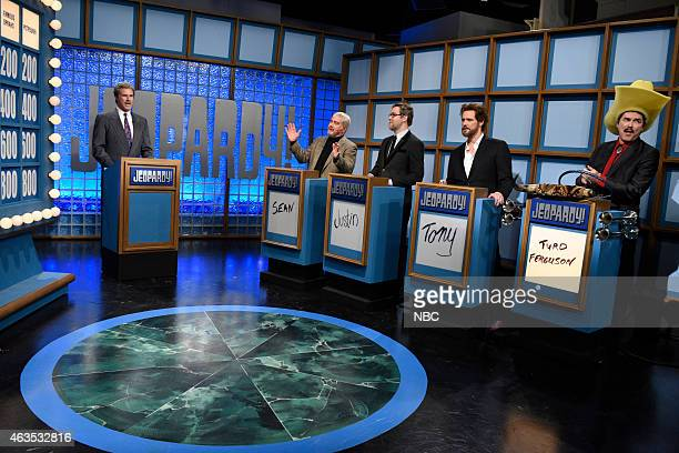 Will Ferrell as Alex Trebek Darrell Hammond as Sean Connery Taran Killam as Christoph Waltz Jim Carrey as Matthew McConaughey during the Celebrity...