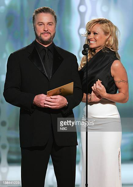 William L Petersen and Pamela Anderson on stage during The 63rd Annual Golden Globe Awards at the Beverly Hilton Hotel