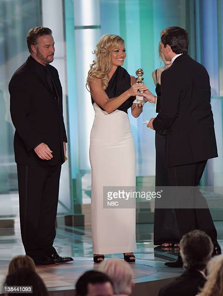 William Petersen Pamela Anderson and Steve Carell on stage during The 63rd Annual Golden Globe Awards at the Beverly Hilton Hotel