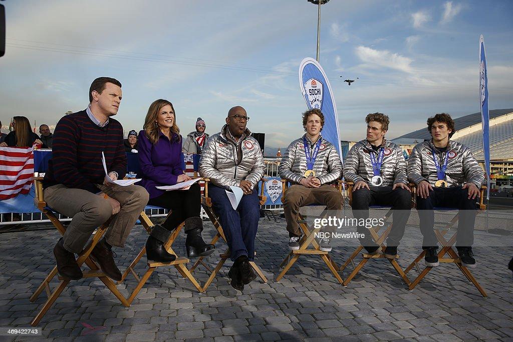 Willie Geist, Natalie Morales, Nick Goepper, Gus Kenworthy, Joss Christenson from the 2014 Olympics in Socci --