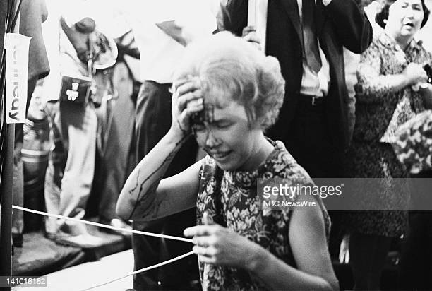 Wounded woman Mrs Evans who was shot by assassin Sirhan Sirhan who killed Robert Kennedy on June 5 1968 during his Presidential Campaign at the...