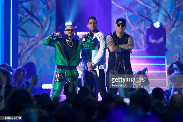 Pictured: Yandel, Romeo Santos and Wisin perform at the Mandalay Bay Resort and Casino in Las Vegas, NV on April 25, 2019 --