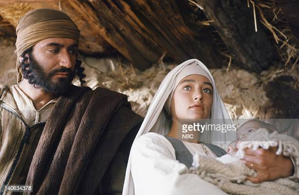 Pictured: Yorgo Voyagis as Joseph, Olivia Hussey as Mary, the mother of Jesus, unknown as baby Jesus -- Photo by: NBC/NBCU Photo Bank