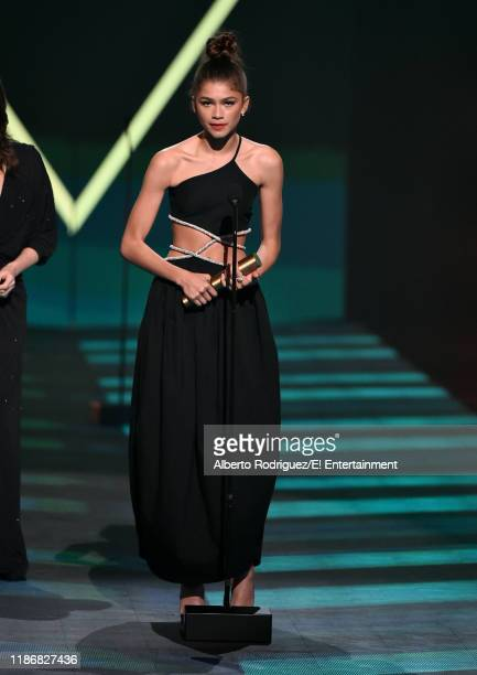 Zendaya accepts the The Drama TV Star of 2019 award for Euphoria on stage during the 2019 E People's Choice Awards held at the Barker Hangar on...
