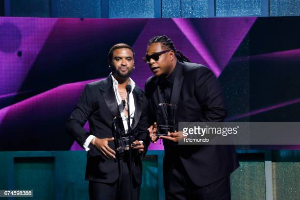 Zion Y Lennox accept the 'Latin Rhythm Albums' award on stage at the Watsco Center in the University of Miami Coral Gables Florida on April 27 2017