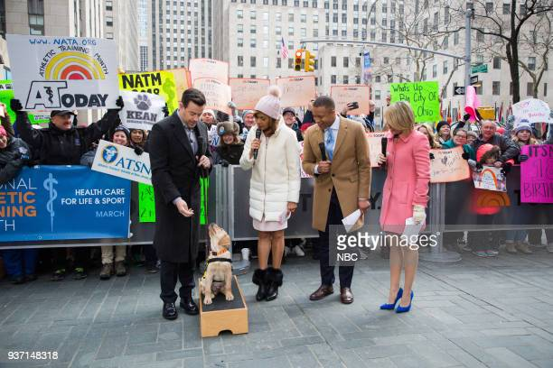 Carson Daly Hoda Kotb Craig Melvin Dylan Dreyer and Sunny the Today Show Puppy on Friday March 23 2018