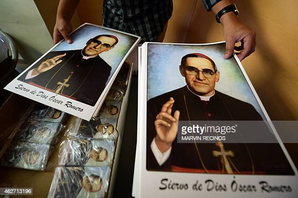 Pictures of Archbishop Oscar Romero in the center of San Salvador on February 3 2015 Monsignor Romero was declared a martyr by the Francisco Pope in...