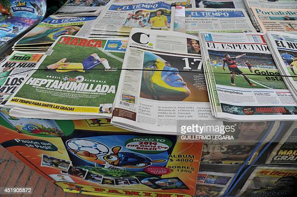 Pictures of Colombian newspapers taken at a newsstand in Bogota on July 9 a day after Germany beat Brazil with a record 71 victory in their FIFA...