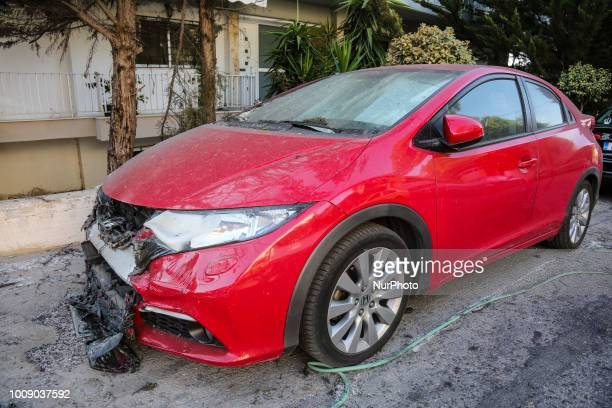 Pictures of destroyed and burnt cars from the fire in Mati, Attica on 23 of July 2018. The cars from the wider area of Mati and Neos Voutsas in...