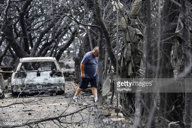 Pictures of destroyed and burnt cars from the fire in Mati Attica on 23 of July 2018 The cars from the wider area of Mati and Neos Voutsas in eastern...