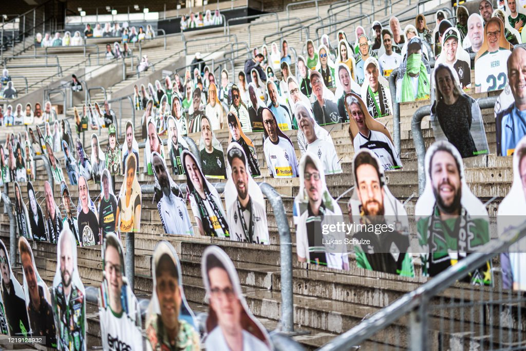Borussia Moenchengladbach Supporters Sustain Their Club By Buying Cardboard Characters : News Photo