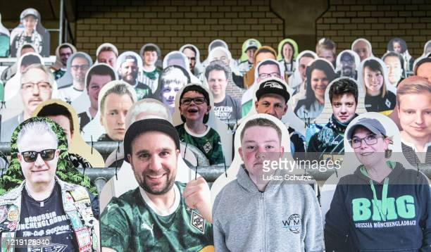Pictures of fans of Bundesliga club Borussia Moenchengladbach are seen at Borussia-Park on April 16, 2020 in Moenchengladbach, Germany. Borussia...