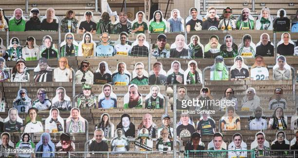Pictures of fans of Bundesliga club Borussia Moenchengladbach are seen at BorussiaPark on April 16 2020 in Moenchengladbach Germany Borussia...