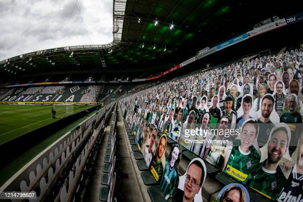 Pictures of fans of Bundesliga club Borussia Moenchengladbach are seen before the Bundesliga match between Borussia Moenchengladbach and Bayer 04...