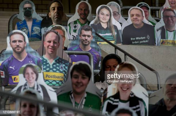 Pictures of fans players coaches and staff of Bundesliga club Borussia Moenchengladbach are seen at BorussiaPark on April 24 2020 in Moenchengladbach...