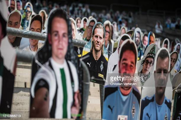 Pictures of fans, players, coaches and staff of Bundesliga club Borussia Moenchengladbach are seen at Borussia-Park on April 24, 2020 in...