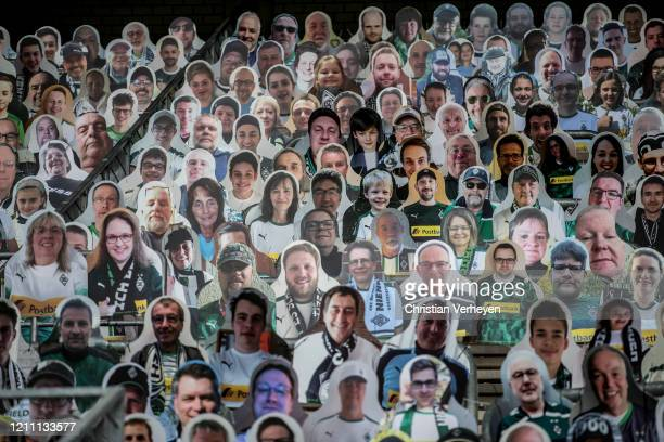 Pictures of fans players coaches and staff of Bundesliga club Borussia Moenchengladbach are seen at BorussiaPark on April 28 2020 in Moenchengladbach...
