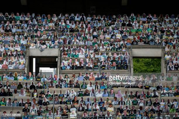 Pictures of fans, players, coaches and staff of Bundesliga club Borussia Moenchengladbach are seen at Borussia-Park on April 28, 2020 in...