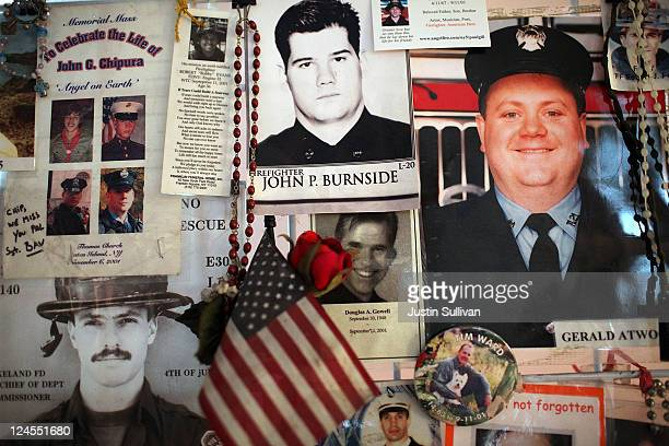 Pictures of firefighters who died in the September 11 terror attacks are displayed inside St. Paul's Chapel across from the World Trade Center site...