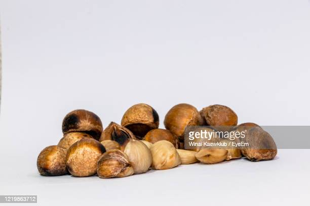 pictures of folk chestnuts and white background - chestnut food stock pictures, royalty-free photos & images