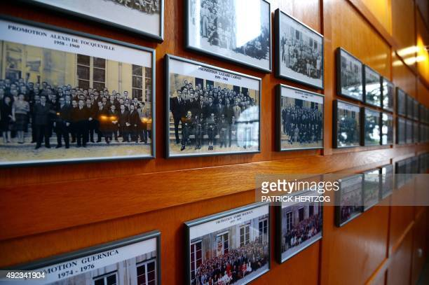 Pictures of former students in the lobby of the Ecole Nationale d'Administration on January 14 2013 in Strasbourg eastern France The National School...