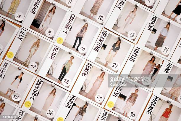 Pictures of models are seen on the backstage wall at the Vera Wang Spring 2005 fashion show during the Olympus Fashion Week Spring 2005 at Bryant...