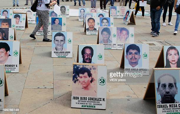Pictures of people missing due to armed conflict are displayed in a square commemorating the International Day of the Disappeared on August 30 2016...