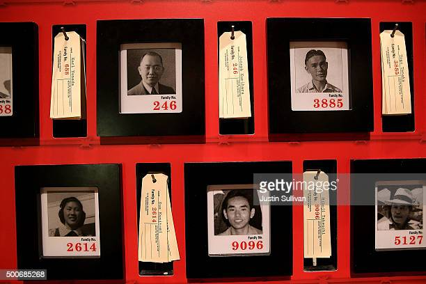 Pictures of people who were incarcerated at Manzanar War Relocation Center are displayed alongside family tags at Manzanar National Historic Site on...