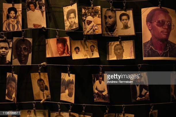 Pictures of people who were killed in the 1994 Rwandan genocide hang in the Kigali Genocide Museum on April 06, 2019 in Kigali, Rwanda. The country...
