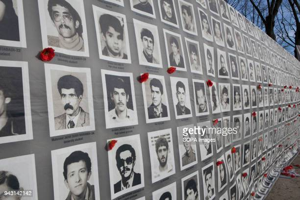 Pictures of political prisoners executed in Iran was displayed in a protests Iranian demonstrate against violation of human rights and devastation...