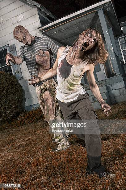 Pictures of Real Classic Zombies Outside a Old Farmhouse