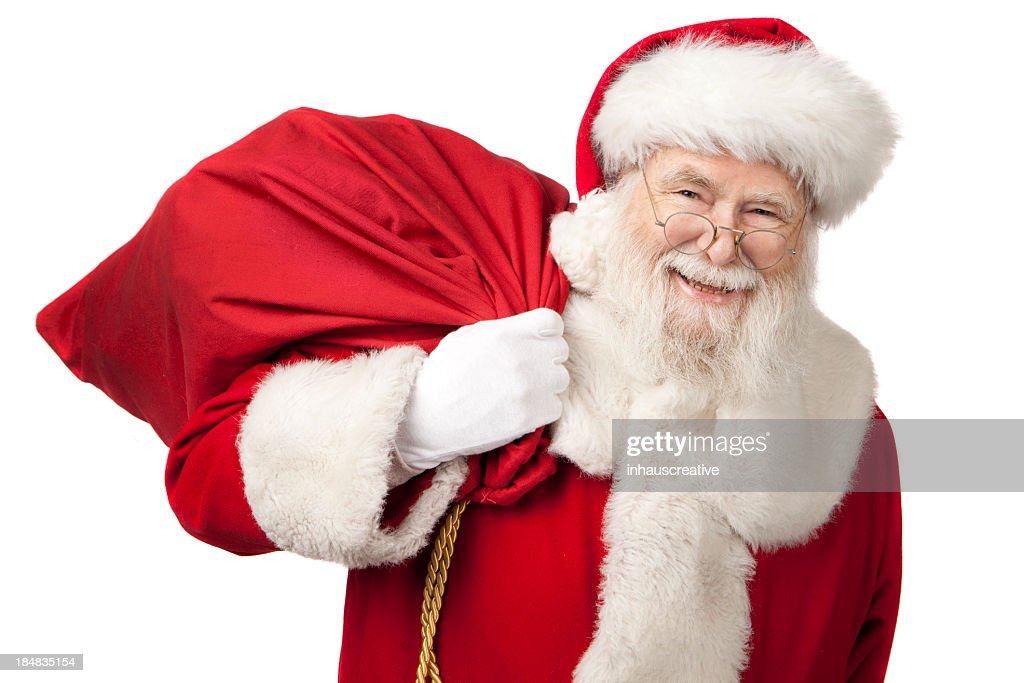 Pictures of Real Santa Claus Carrying A Gift Bag : Stock Photo
