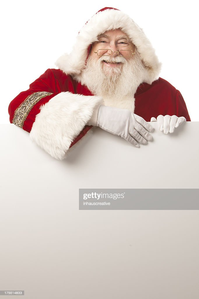 Pictures of Real Santa Claus holding a blank sign : Stockfoto